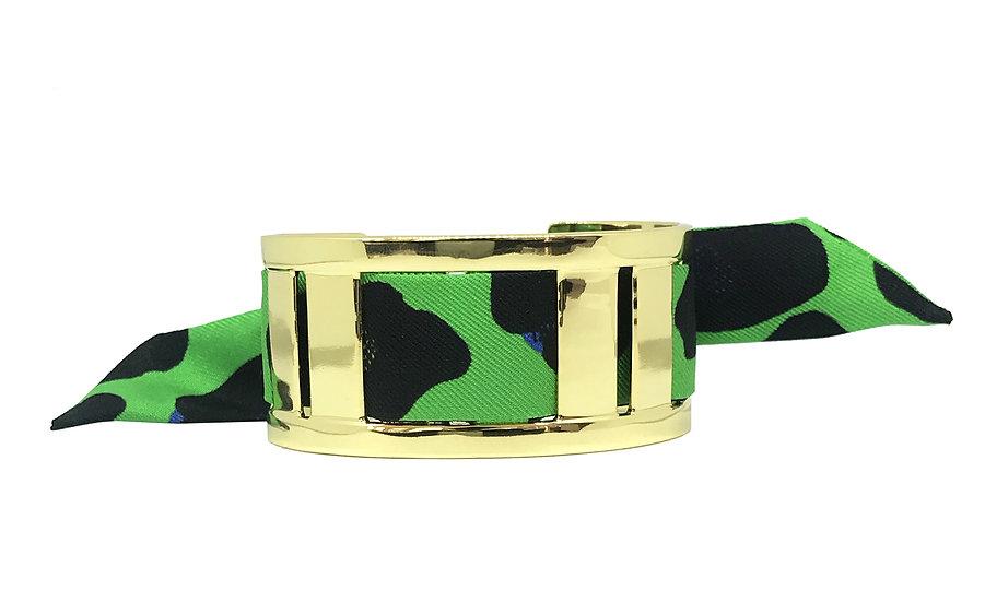 Manchette JMA de 3 cm - Bracelet Léopard, Vert flash