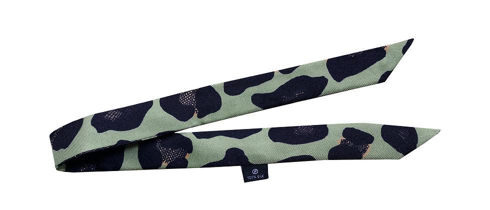 Ruban 2cm - Léopard, vert sauge