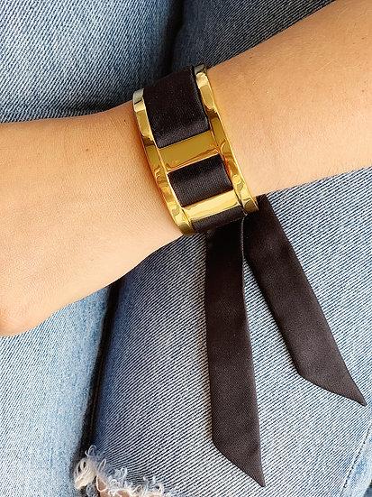 Manchette JMA de 3 cm - Bracelet uni Noir