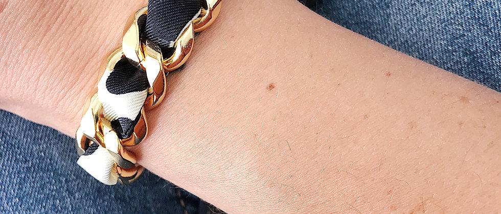 Bracelet Chaîne et son ruban Léopard, Blanc cassé