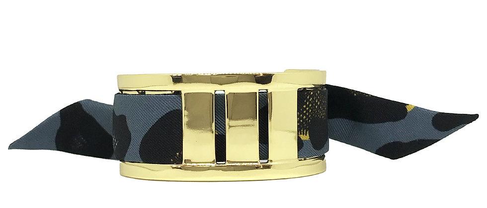 Manchette JMA de 3 cm - Bracelet Léopard, Bleu Jean