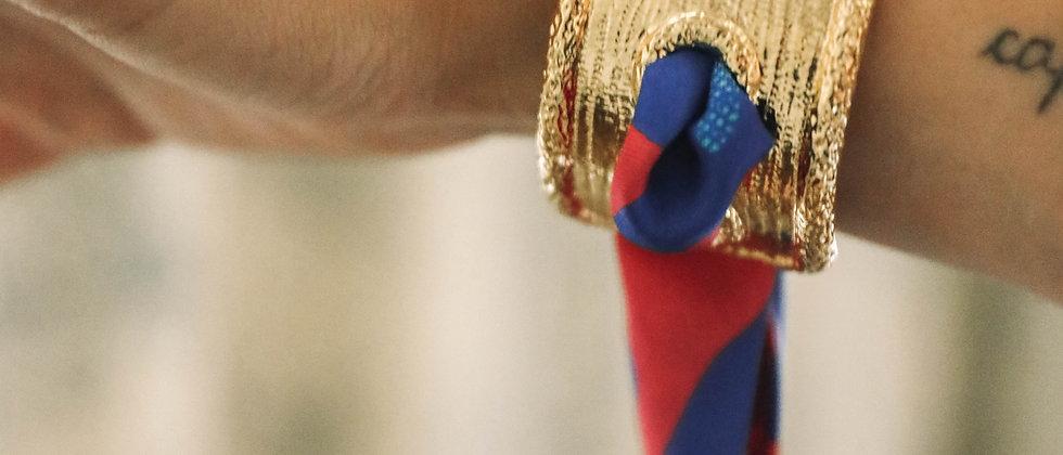 Manchette Queen et bracelet Léopard, rose