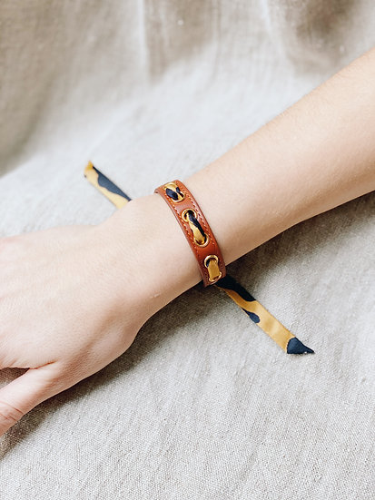Bracelet camel Cycle, ruban Léopard, moutarde