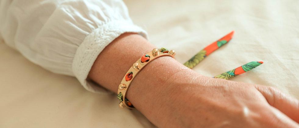 Bracelet Soleil et ruban Tournesols, orange