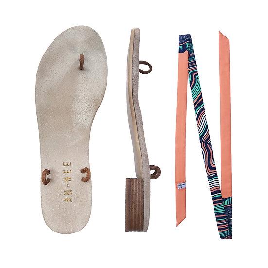 Sandales Horae - Lacets Souche, Corail
