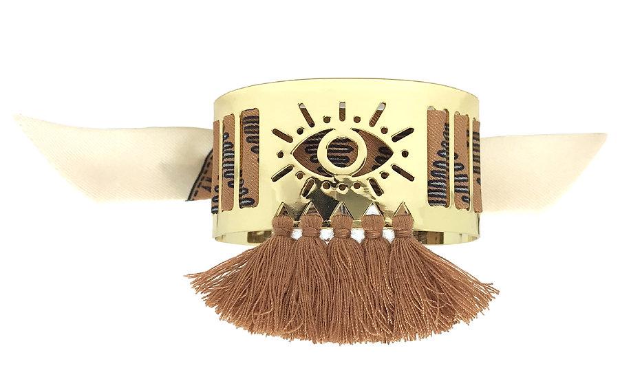 Petite manchette Marrakech à pompons camel et son bracelet Tapis Volant