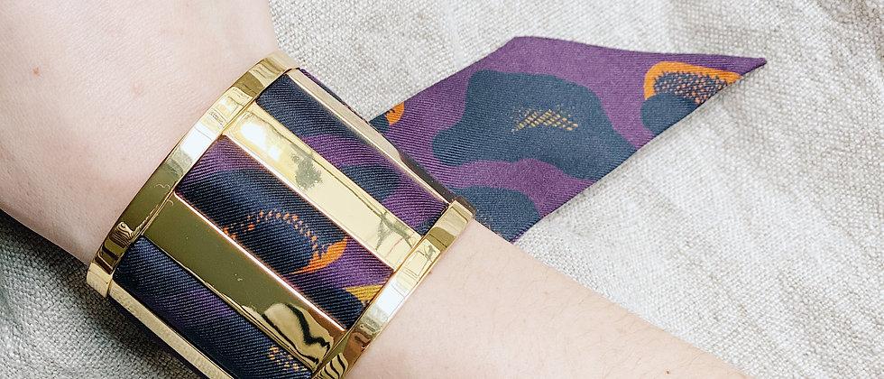 Grande Manchette JMA et bracelet Léopard, prune