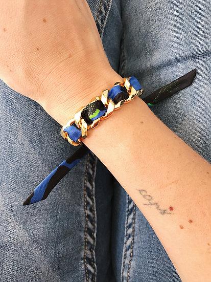 Bracelet Chaîne et son ruban Léopard, Bleu Electrique