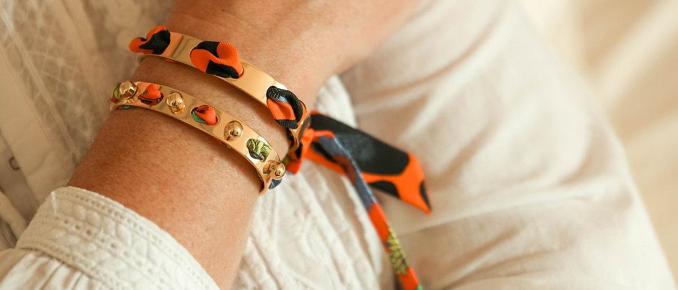 Bracelet Proust et ruban Léopard orange