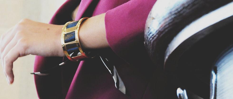 Manchette JMA de 3 cm - Bracelet Le Zèbre, marine