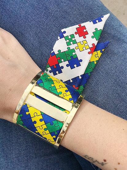 Grande Manchette JMA et bracelet Puzzle, Blanc cassé