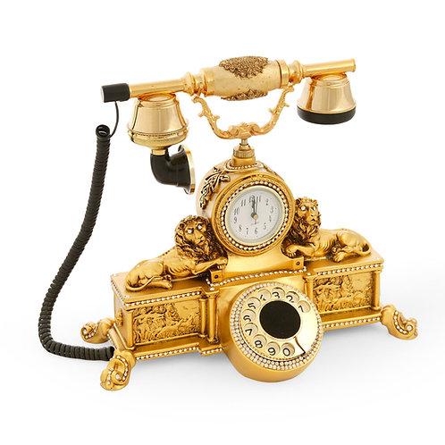Çift Aslanlı Varaklı Saatli Klasik Telefon