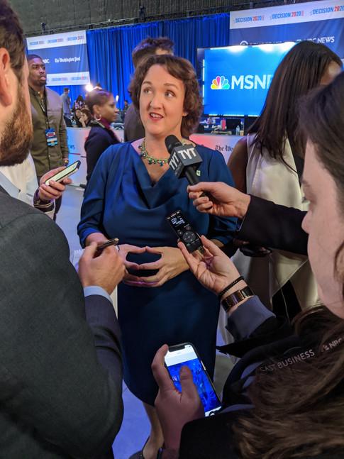 Congresswoman Katie Porter in the Spin Room