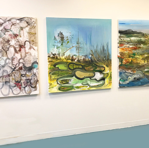 Three paintings, installation view, 2018