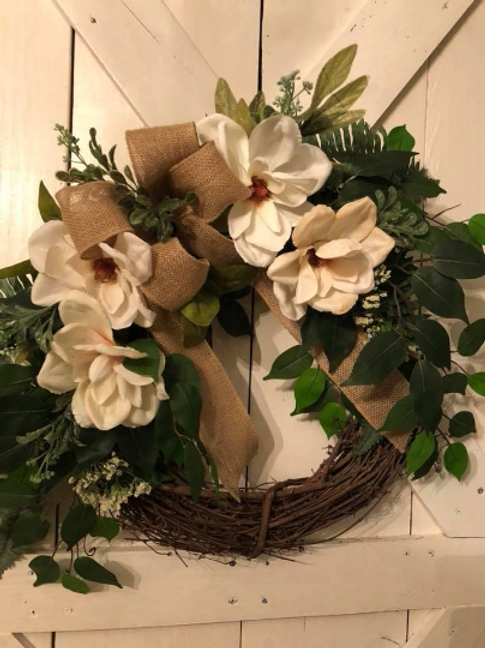 Grapevine Magnolia Wreath