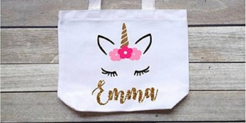Kids Unicorn Personalized Tote Bag Workshop
