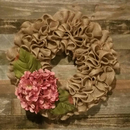 Burlap and Hydrangea Wreath
