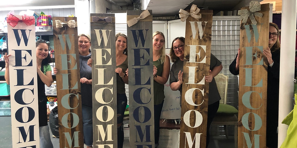 At Home 6 ft Welcome sign
