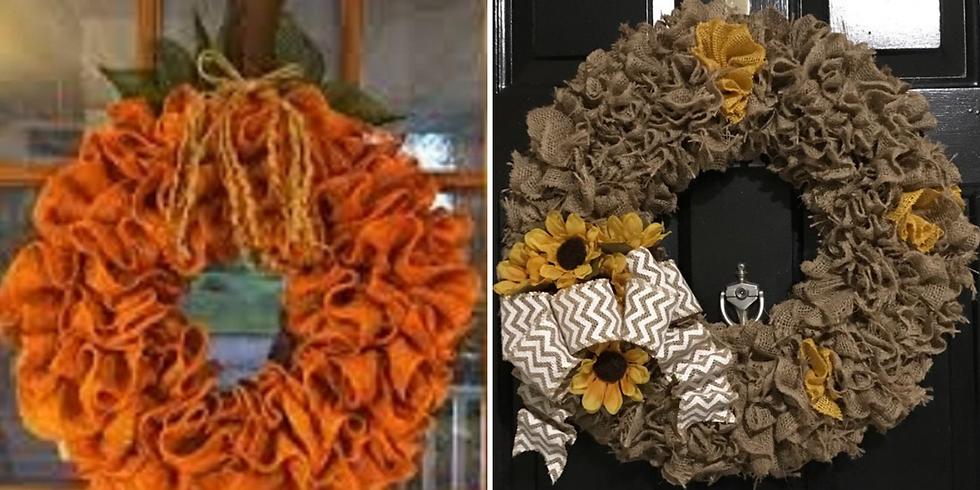 Pumpkin or Sunflower Burlap Fall Wreath
