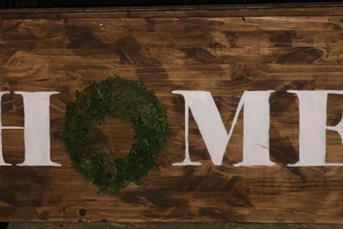Farmhouse HOME Sign with Moss Wreath Canter
