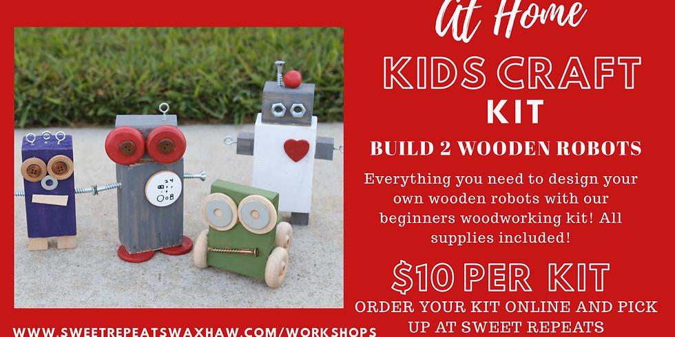 Kids wooden robots craft kit