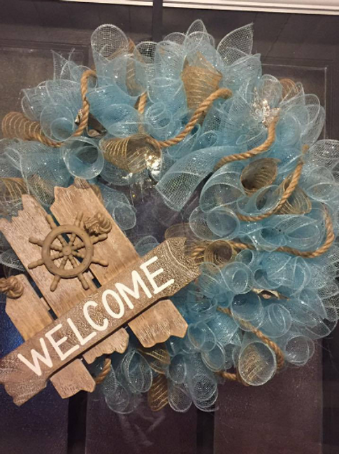 Beach Themed Deco Mesh Wreath