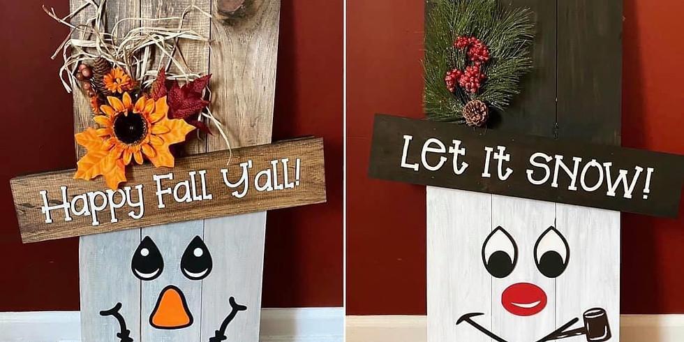 Fall/Winter Porch Reversible scarecrow/snowman