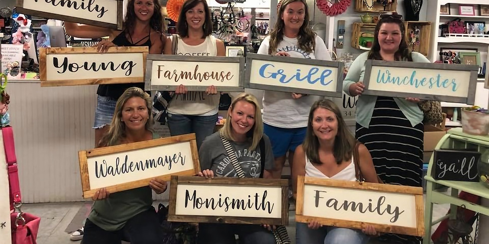 Personalized Farmhouse Inspired Sign Workshop