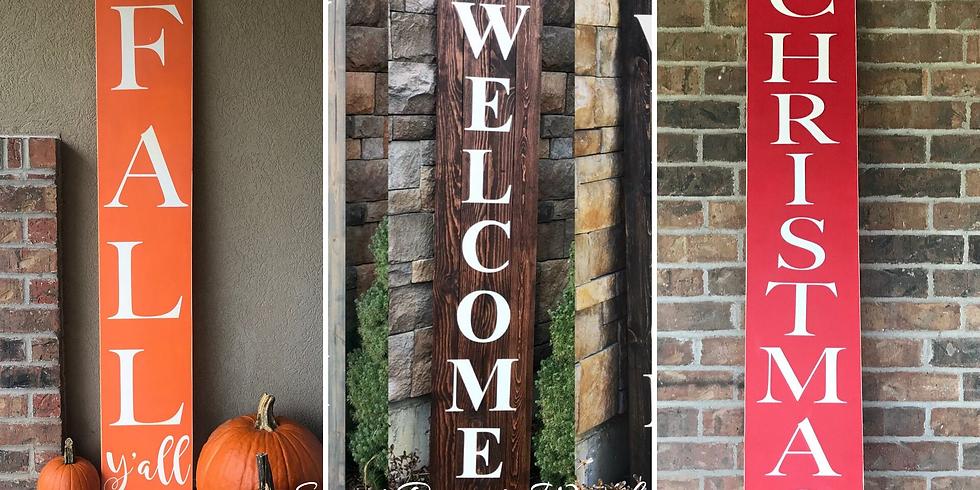 Ladies Night -Farmhouse Fall Wreath/Porch Signs/pumpkins