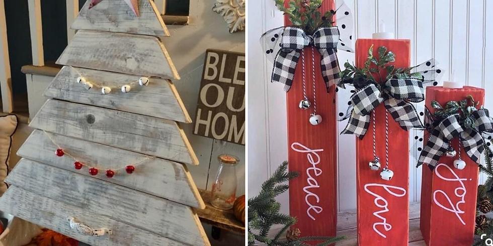 Farmhouse Wood Christmas Tree or 3 Wood Candleholders