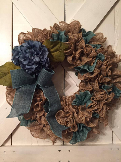 Burlap Ruffle Wreath with Blue Bow and Accents