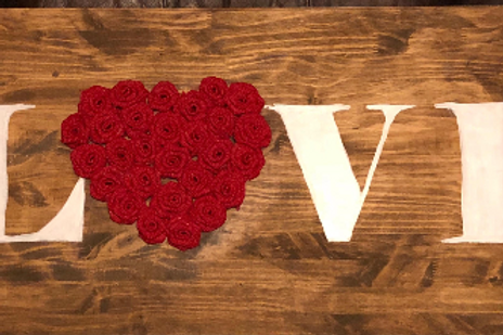 Handmade LOVE sign with burlap roses - 3 ft long!