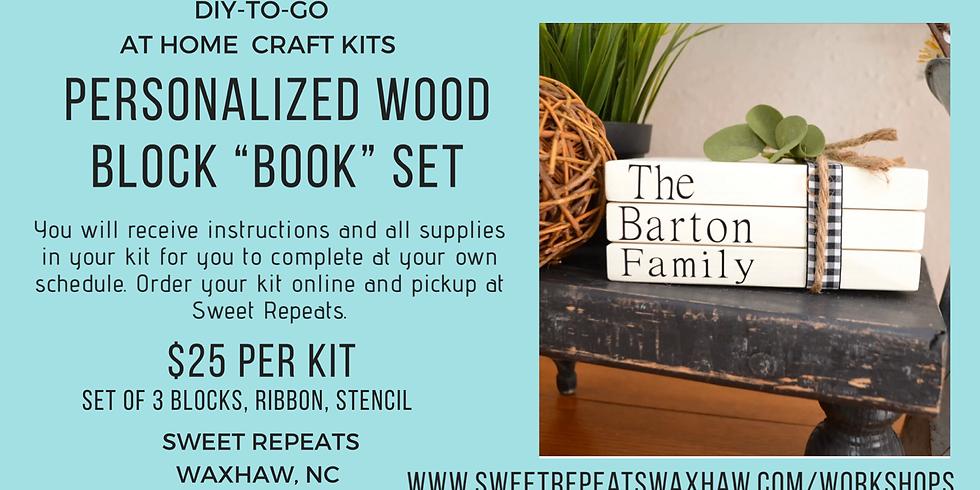 "Personalize Wood Block ""Book"" Set"