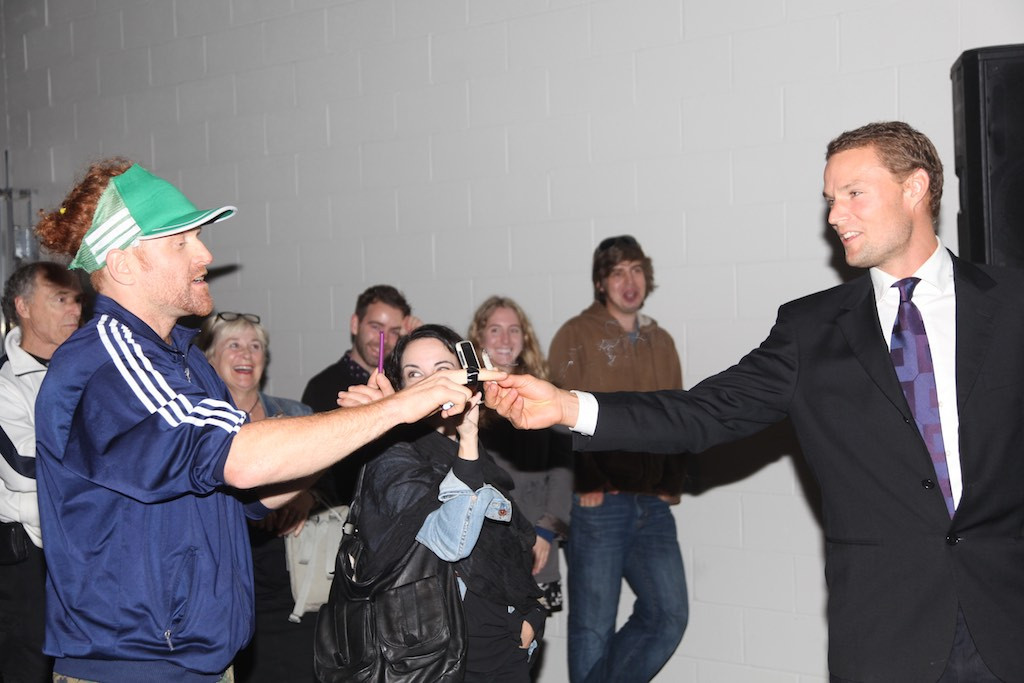 """""""The Mayor"""" interacting with his audience"""