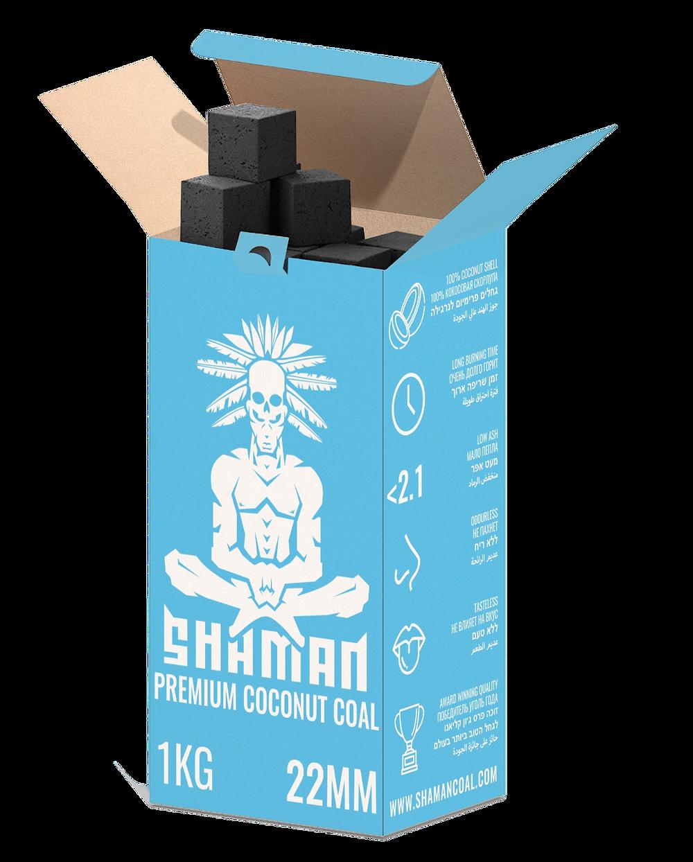 גחלי שאמאן טבעיים לנרגילה המיוצרים מקליפות קוקוס