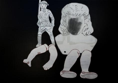 Oyuncak, 2018 Tuval üzerine akrilik ve dikiş,70 x 100 cm