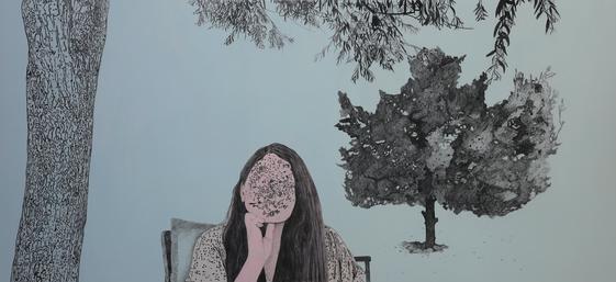 Söğüt Ağacı, 2019 Tuval üzerine karışık teknik, 86 x 180 cm