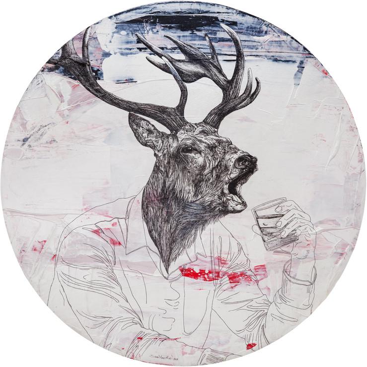 """""""İnsanlar Alemi"""" serisinden İsimsiz II, 2017 Tuval üzerine akrilik ve mürekkepli kalem, Ø80 cm"""