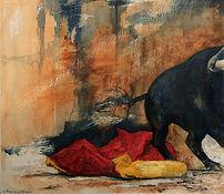 peintre marie c allio · aquarelles · acryliques · illustrations · dessins · watercolors · thèmes : vagues · portraits  · dos · mer · ciel · torero corrida