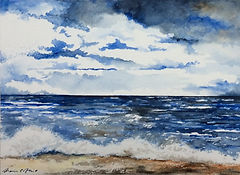 peintre marie c allio · aquarelles · acryliques · illustrations · dessins · watercolors · thèmes : vagues · portraits  · dos · mer · ciel ·