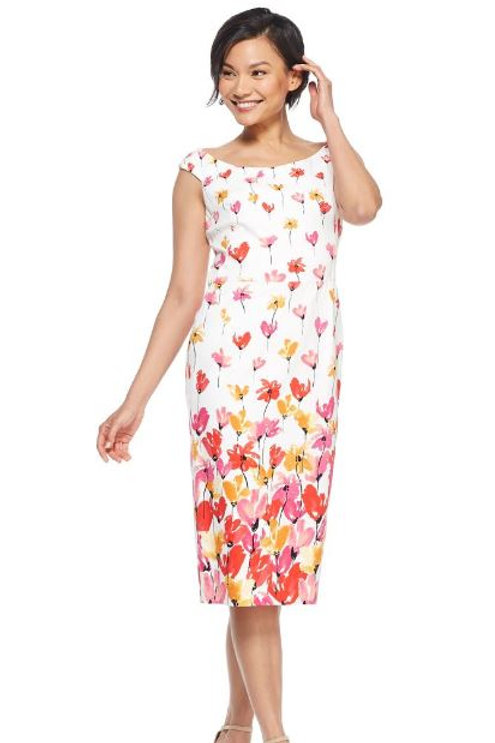 White Multi Floral Sheath Dress