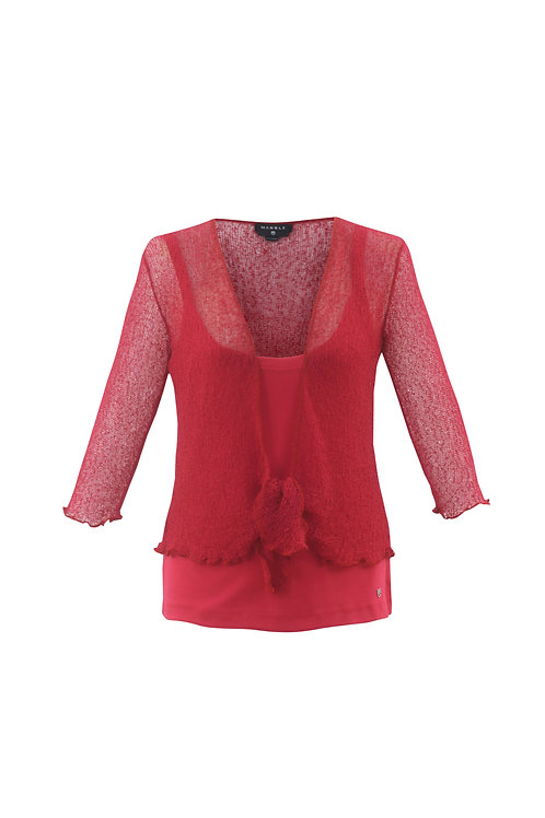 Open Weave Crop Shrug (Black, Red & White)