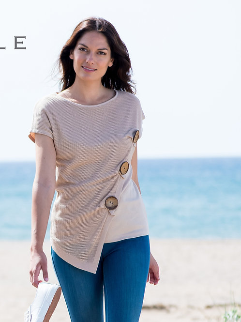 3 Button Knit Tee