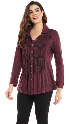 Ruched Tonal Embroidery Shirt