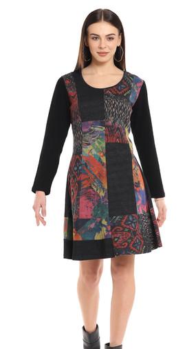 Printed Color Block A-Line Dress