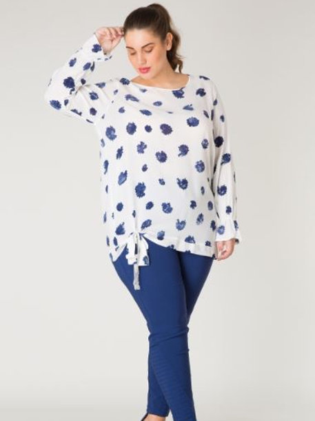 Side Tie Printed Blouse