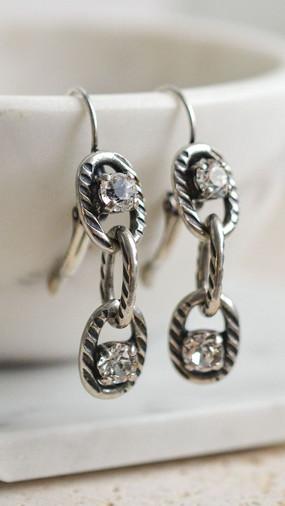Chain Link Swarovski Crystal Earrings