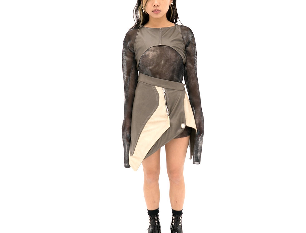 greige slit leather skirt