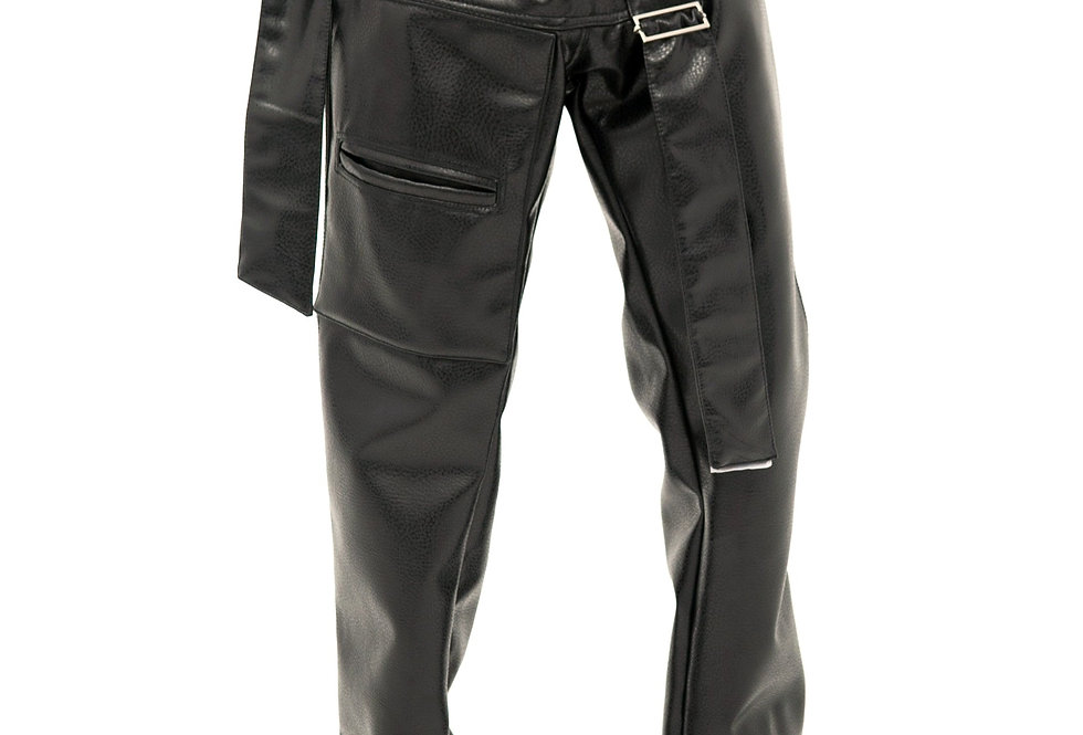 BELTED LEATHER PANT