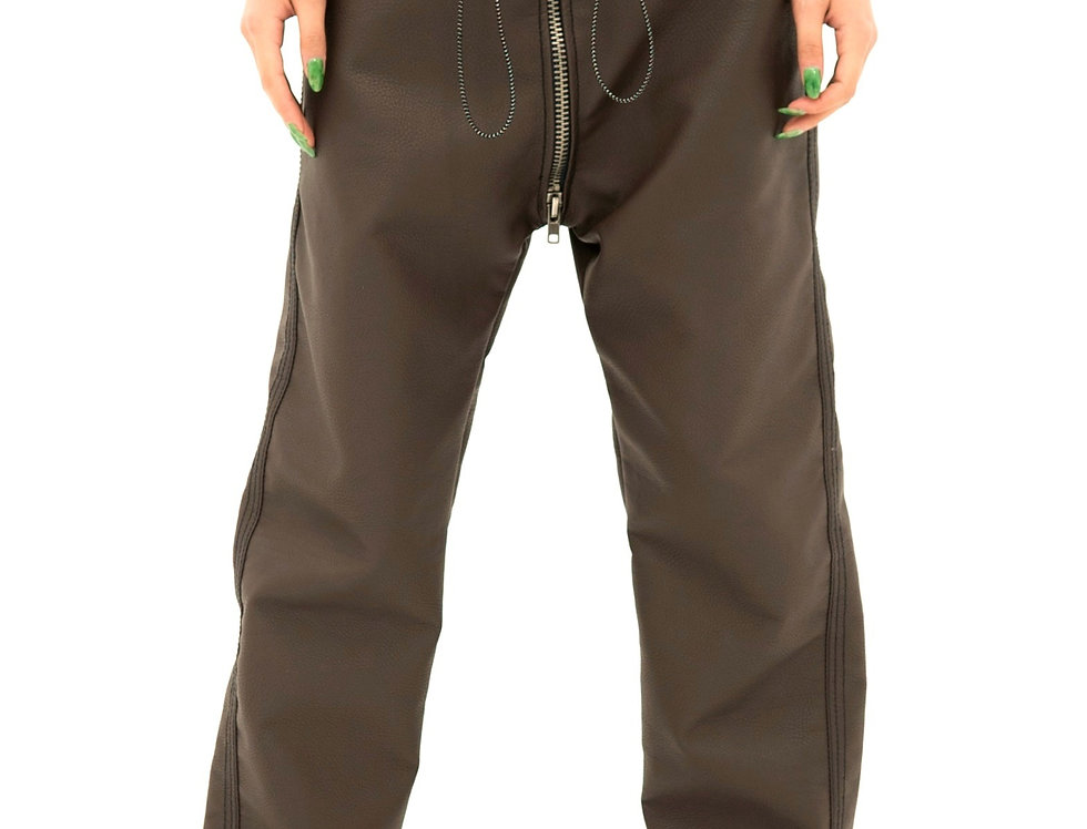 BROWN LEATHER TRACK PANT